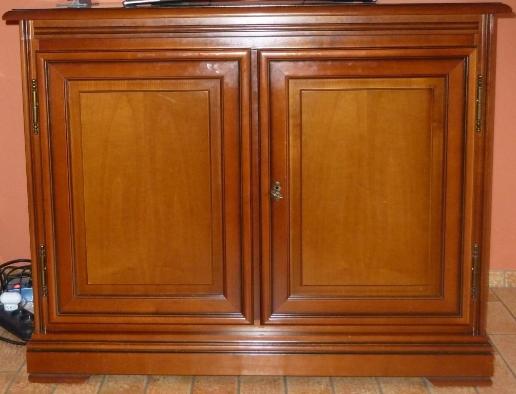 Petit meuble d 39 appoint en merisier 1 porte 1tiroir for Petit meuble porte
